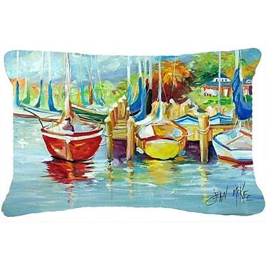 Caroline's Treasures On The Dock Sailboats Indoor/Outdoor Throw Pillow