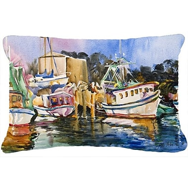 Caroline's Treasures Shrimp Boat Warehouse Indoor/Outdoor Throw Pillow