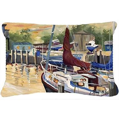 Caroline's Treasures New Sunset Bay Sailboat Indoor/Outdoor Throw Pillow