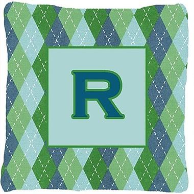 Caroline's Treasures Monogram Initial Blue Argyle Indoor/Outdoor Throw Pillow; R