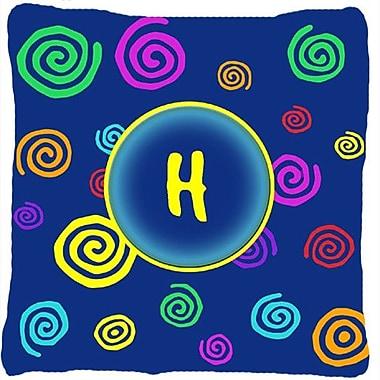Caroline's Treasures Monogram Initial Blue Swirls Indoor/Outdoor Throw Pillow; H