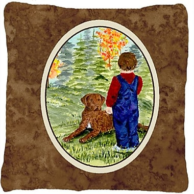 Caroline's Treasures Little Boy w/ His Chesapeake Bay Retriever Indoor/Outdoor Throw Pillow