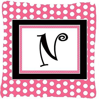Caroline's Treasures Letter Initial Monogram Pink Black Polka Dots Indoor/Outdoor Throw Pillow; N