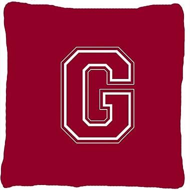 Caroline's Treasures Monogram Initial Maroon and White Indoor/Outdoor Throw Pillow; G