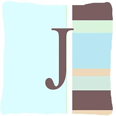 Caroline's Treasures Letter Initial Monogram Blue Stripes Indoor/Outdoor Throw Pillow; J