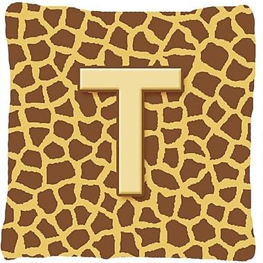 Caroline's Treasures Monogram Initial Giraffe Indoor/Outdoor Throw Pillow; T