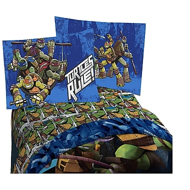 TMNT - Ensemble de draps au motif Mean Green, lit simple