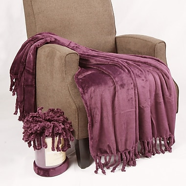 BOON Throw & Blanket Flannel Fleece Braided Throw; Blackberry Wine