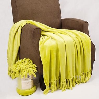 BOON Throw & Blanket Flannel Fleece Braided Throw; Oasis Green