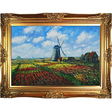 Tori Home Tulip Field w/ the Rijnsburg Windmill by Claude Monet Framed painting