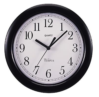 TEMPUS Black Quartz Wall Clock, Plastic 8.5