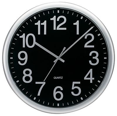 TEMPUS Commercial Style Silver Quartz Wall Clock, Plastic 13.5
