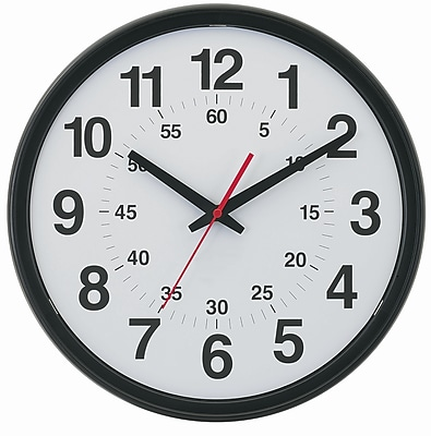 "TEMPUS DST Auto-Adjust Minute-Minder Black Wall Clock, Plastic 14"" (TC7913B)"
