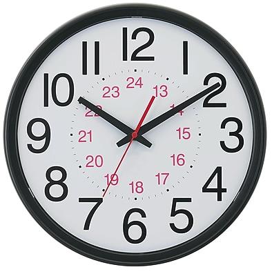 TEMPUS 14 Inch DST AutoAdjust 24Hour Black Wall Clock TC7905B
