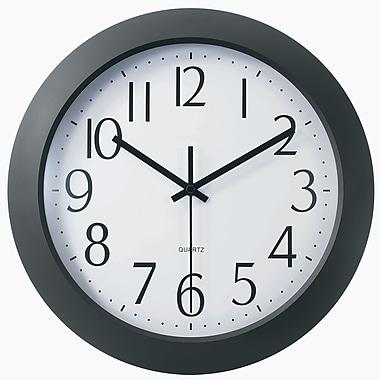 TEMPUS 12 Inch Flat-Panel Plastic Black Radio-Controlled Wall Clock (TC6008B)