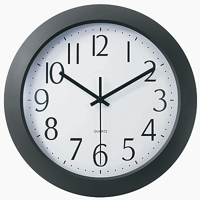 TEMPUS Flat-Panel Plastic Black Quartz Wall Clock, Plastic 12