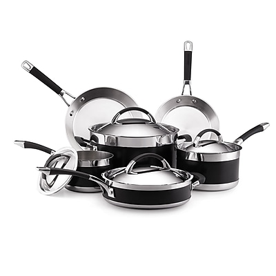 Anolon Cookware Set, Black, 10-Piece (93591826M)