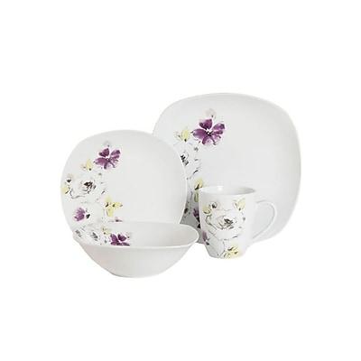 Gibson Purple Bloom Dinnerware Set, White, 16 Piece (91694)