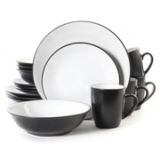 Gibson Dinnerware, Black/White, 16 Piece (58901)