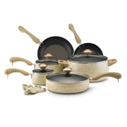 Paula Deen 15-Piece Cookware Set, Oatmeal Speckle (12488)