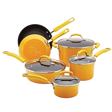 Rachael Ray 10-Piece Cookware Set, Yellow (12788)