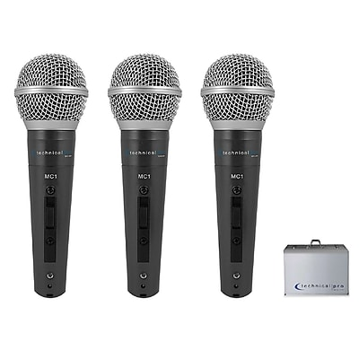 Technical Pro 93590716M MCZ3PACK Wired Microphones with Digital Processing Set