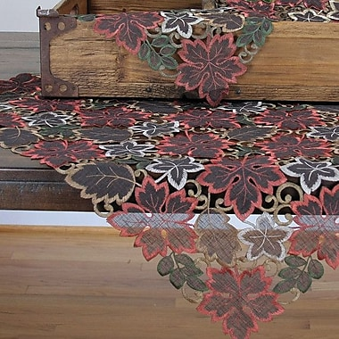 Xia Home Fashions Dainty Leaf Embroidered Cutwork Harvest Table Topper