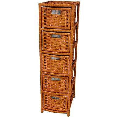 Oriental Furniture 5-Drawer Storage Chest; Honey