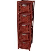 Oriental Furniture 5-Drawer Storage Chest; Mahogany