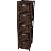 Oriental Furniture 5-Drawer Storage Chest; Mocha