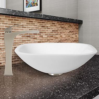 Vigo White Phoenix Glass Square Vessel Bathroom Sink w/ Faucet