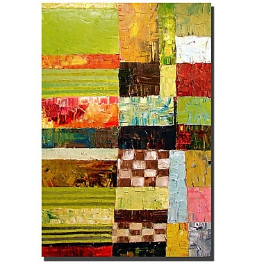 Trademark Fine Art Abstract Color Study with Checkerboard by Michelle Calkins 16x24 Inches