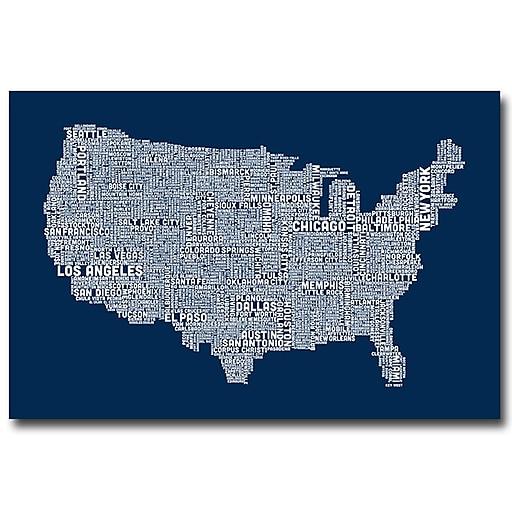 Trademark Fine Art Michael Tompsett 'US City Map V' Canvas Art 22x32 Inches