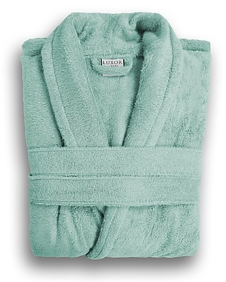 Luxor Linens Anini Rayon from Bamboo and Cotton Spa Bath Robe; Rain WYF078276030970