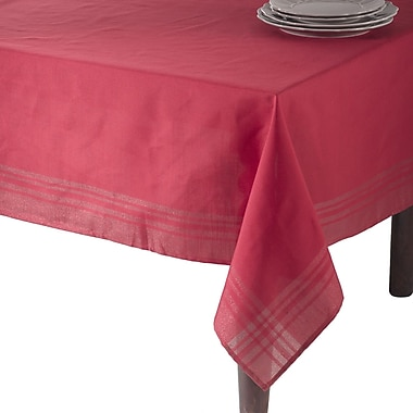 Saro Iridescent Design Plaid Tablecloth