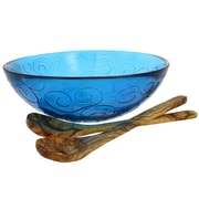 French Home Swirl 3 Piece Recycled Glass Serving Bowl Set; Cornflower Blue