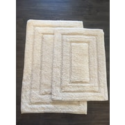 AM Home Textiles Race Track 2 Piece Bath Mat Set; Ivory
