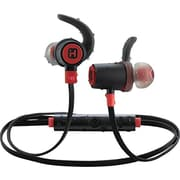 iHome iB73BRC In-Ear Water Resistant Bluetooth Headphones with Microphone, Black/Red