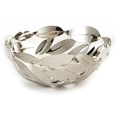 Elegance Nicket Plated Stainless Steel Round Leaves Basket
