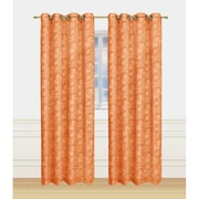 Window Elements Garden Semi-Sheer Extra Wide Grommet Single Curtain Panel; Rust