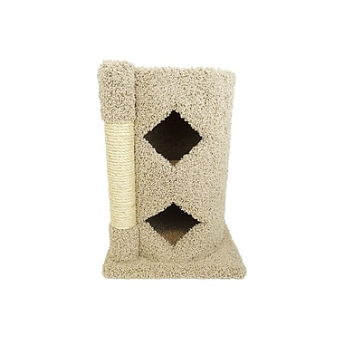 New Cat Condos 28'' Premier 2-Story Solid Wood Cat Condo; Beige