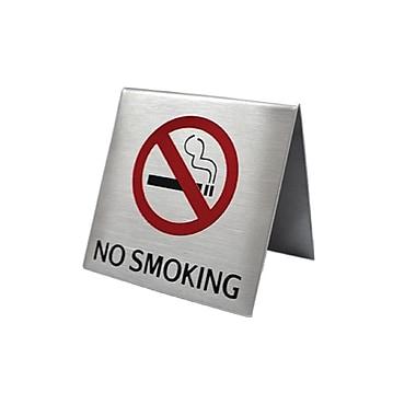 Futech – Affichette de comptoir « No Smoking » en tente, 2 1/2 larg. x 2 1/2 haut. x 2 prof. (po), acier inoxydable, paq./5