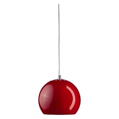 Wildon Home Bolz 1 Light Pendant; Glossy Red