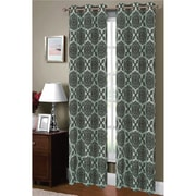 Window Elements Diamante Damask Sheer Grommet Curtain Panels (Set of 2); Aqua / Chocolate