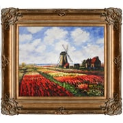 Tori Home Tulip Field w/ Rijnsburg Windmill by Claude Monet Framed Painting