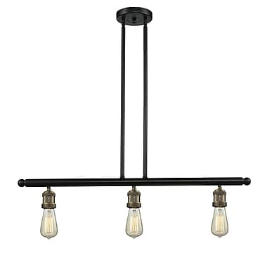 Innovations Lighting Bare Bulb 3-Light Kitchen Island Pendant; Black/Brushed Brass