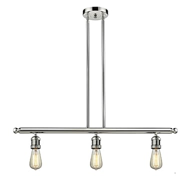 Innovations Lighting Bare Bulb 3-Light Kitchen Island Pendant; Polished Nickel