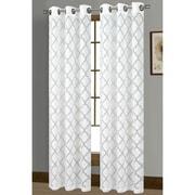 Window Elements Lattice Geometric Sheer Grommet Curtain Panels (Set of 2); White