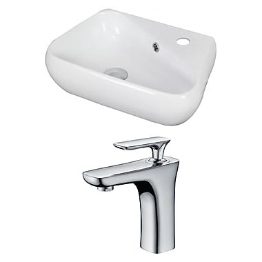 American Imaginations Specialty Ceramic Specialty Vessel Bathroom Sink w/ Faucet and Overflow