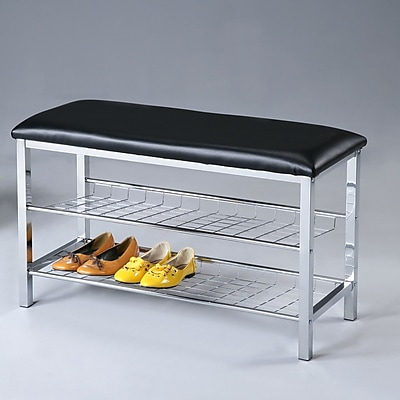 Roundhill Furniture No Fabric Storage Entryway Bench